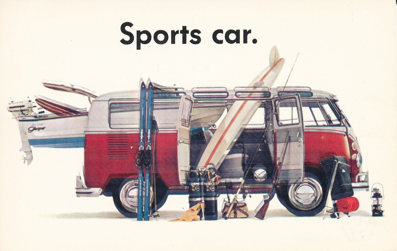 Sports Car Adverts vw Camper Retro ad Sports Car