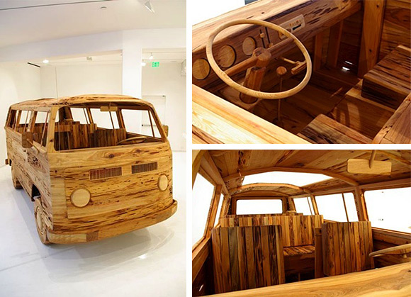 Artist creates life-sized VW Bus out of wood