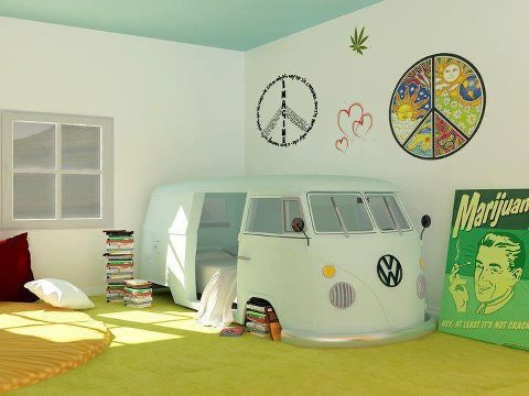 Vw bus camp bed indoors
